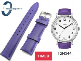 Pasek do zegarka Timex T2N344 skórzany fioletowy 20 mm