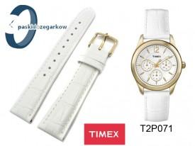 Pasek Timex T2P071 skórzany biały 18 mm złota sprzączka
