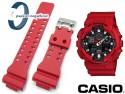 Pasek do Casio GA-100B-4A, GA-100, GR-8900, GA-110, GD-100, GD-110, GA-120, GA-300 czerwony matowy sprzączka błyszcząca