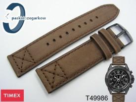Pasek do zegarka Timex T49986 nubuk brąz 22 mm