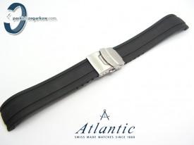 Pasek Atlantic SEAROCK 22mm gumowy czarny stalowe zapięcie