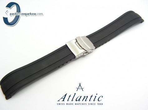 Pasek Atlantic gumowy czarny 22 mm stalowe zapięcie