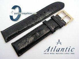 Pasek Atlantic 21 mm czarny sprzączka w kolorze złotym