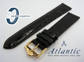 Pasek Atlantic 19 mm ciemny brąz sprzączka w kolorze złotym