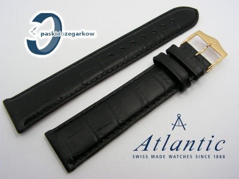 Pasek Atlantic 20mm czarny sprzączka w kolorze złotym
