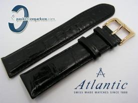 Pasek Atlantic 22 mm czarny sprzączka w kolorze złotym