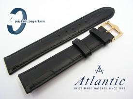 Pasek Atlantic 18 mm czarny sprzączka w kolorze złotym