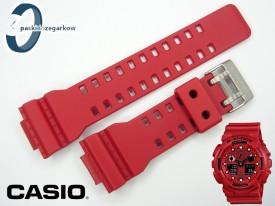 Pasek do Casio GA-100, GA-110 czerwony matowy sprzączka matowa