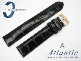 Atlantic 19 mm, czarny, sprzączka w kolorze złotym