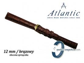 Pasek Atlantic 12mm jasny brąz sprzączka w kolorze złotym