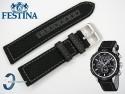 Pasek do Festina F16566 czarny skórzano-parciany 22 mm