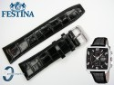 Pasek do Festina F6826 skórzany czarny 24 mm