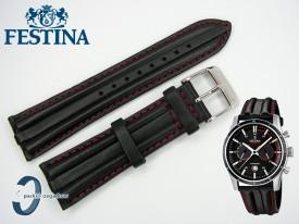 Pasek do Festina F16874 skórzany czarny czerwone przeszycie 24 mm
