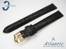 Pasek Atlantic skórzany czarny 14 mm sprzączka w kolorze złotym
