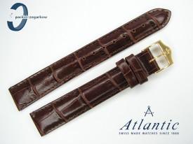 Pasek Atlantic 16 mm skórzany brązowy sprzączka w kolorze złotym
