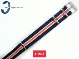 Timex WEEKENDER parciany 20 mm jednoczęściowy granatowo-biało-pomarańczowy