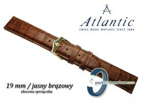Pasek do zegarka Atlantic 19 mm jasny brązowy, sprzączka w kolorze złotym