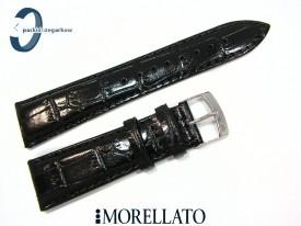 Pasek MORELLATO EXTRA ALLIGATORE skórzany, czarny