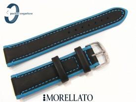 Pasek MORELLATO skórzany czarno-niebieski