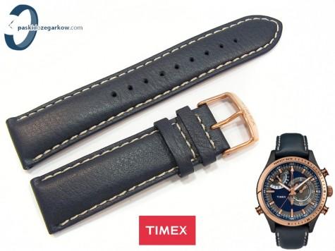 Pasek Timex TW2P72700 skórzany granatowy 22 mm