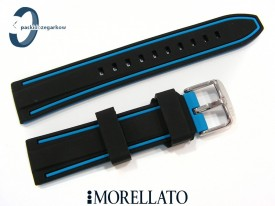 Pasek MORELLATO TARIM SILICONE 22 mm, czarno-niebieski