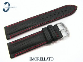 Pasek Morellato RACE czarny skórzany czerwone przeszycie