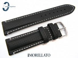 Pasek Morellato RACE czarny skórzany białe przeszycie