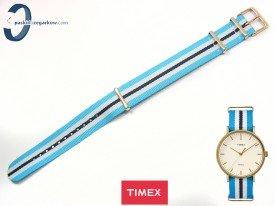 Pasek Timex TW2P91000 parciany jednoczęściowy 20 mm granatowo-niebieski