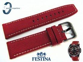 Pasek Festina F16584 skórzano-materiałowy w kolorze czerwonym 24 mm