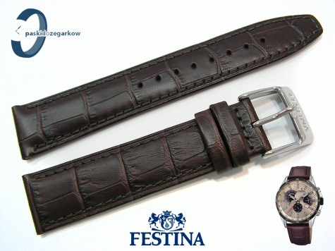 Pasek Festina F20201 brązowy skórzany 21 mm