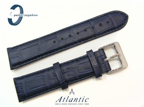 Pasek Atlantic 22 mm skórzany granatowy stalowa sprzączka