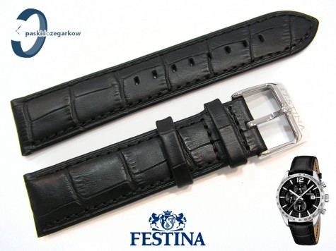 Pasek Festina F16760 skórzany czarny 22 mm