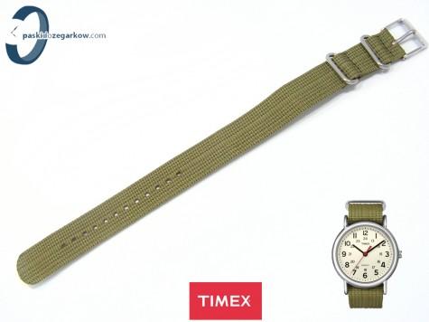 Pasek Timex T2N651 parciany zielony 20 mm jednoczęściowy