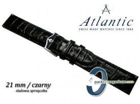 Pasek Atlantic 21mm czarny sprzączka stalowa
