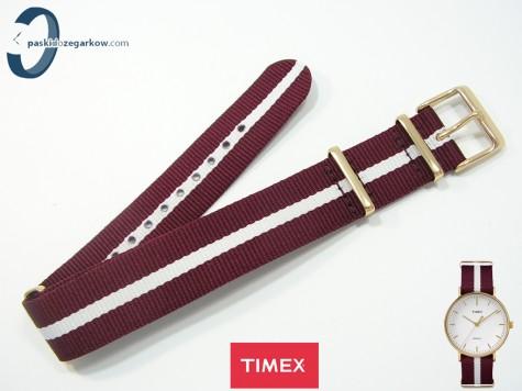 Pasek Timex Tw2P97600 parciany jednoczęściowy bordowo-biały 20 mm