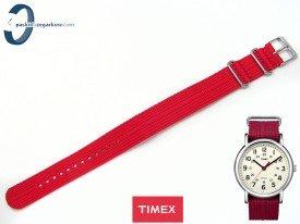 Pasek Timex T2N751 parciany czerwony 20 mm jednoczęściowy