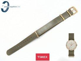 Pasek Timex TW2P98500 skórzany brązowy jednoczęściowy 18 mm szary wpadający w zieleń