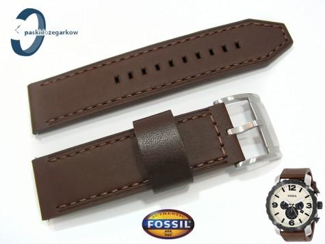 Pasek Fossil JR1390 brązowy skórzany 24 mm