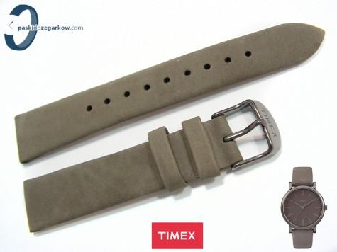 Pasek Timex TW2P96400 skórzany szary 18 mm