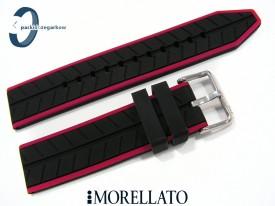 Pasek Morellato SESIA silikonowy 22 mm czarny bordowy akcent