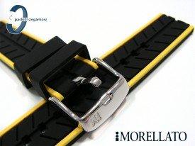 Pasek Morellato SESIA silikonowy 22 mm czarny żółty akcent