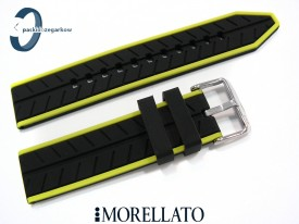 Pasek Morellato SESIA silikonowy 22 mm czarny zielony akcent