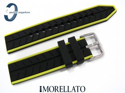 Pasek Morellato SESIA silikonowy 20 mm czarny zielony akcent