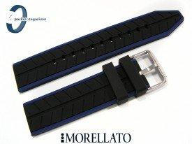 Pasek Morellato SESIA silikonowy 22 mm czarny niebieski akcent