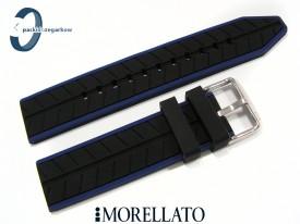 Pasek Morellato SESIA silikonowy 20 mm czarny niebieski akcent