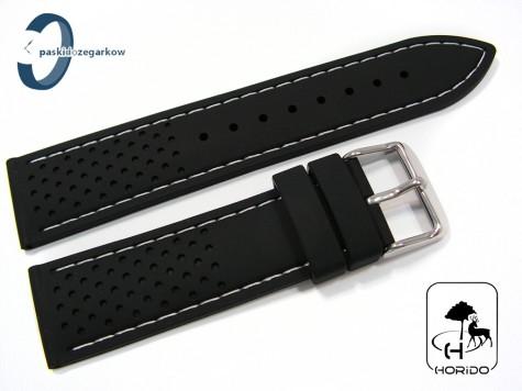 Pasek HORIDO silikonowy czarny z białym przeszyciem 20 mm