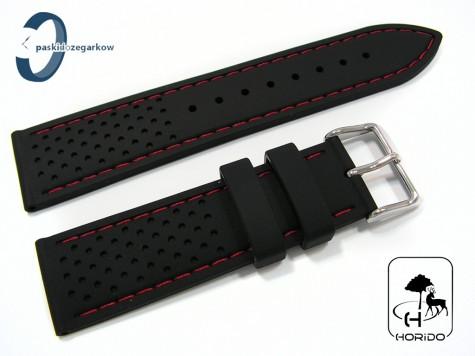 Pasek HORIDO silikonowy czarny z czerwonym przeszyciem, 24 mm