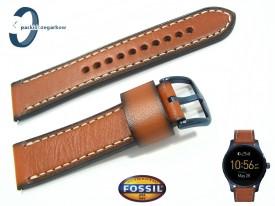Pasek Fossil FTW2106-F, FTW2106 skórzany brązowy 22 mm