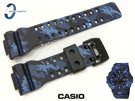 Pasek Casio GA-700CM-2A, GA-700 , GA-710 wzór moro niebieskie