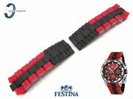 Bransoleta do Festina F16659 stalowo-gumowa czarno-czerwona